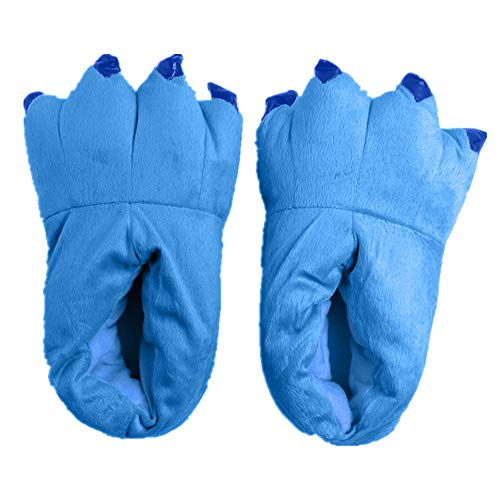 Japsom Unisex Cozy Flannel House Monster Slippers Halloween Animal Costume Paw Claw Shoes, Blue,...
