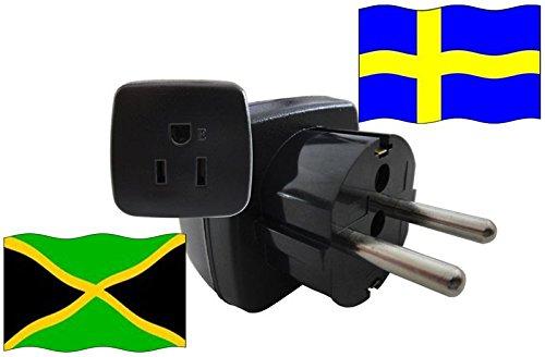 Urlaubs Reiseadapter Jamaika für Geräte aus Schweden Kindersicherung und Schutzkontakt 250 Volt
