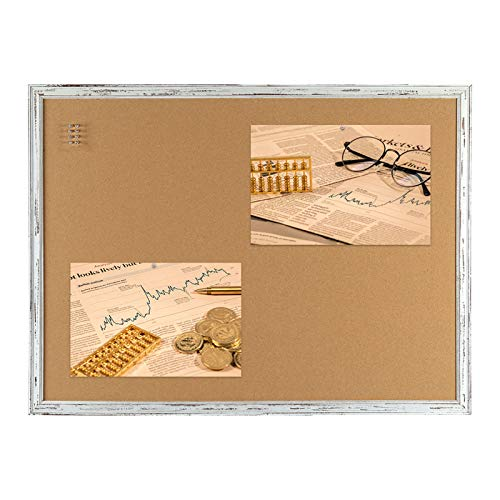 Cork Bulletin Board 36 x 24 Inches, Retro Style White Framed 2' x 3' Pin Board, 10 Push Pins Included