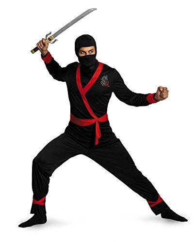 Disguise Men's Ninja Master Costume, Black/Red, X-Large