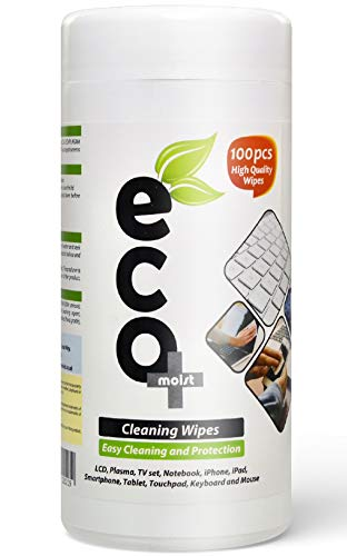Ecomoist Cleaning Wipes LCD LED Plasma TV PC Notebook Monitors Mobile Phones Tablet Keyboard Touchscreen (100 Wipes) Eco Friendly
