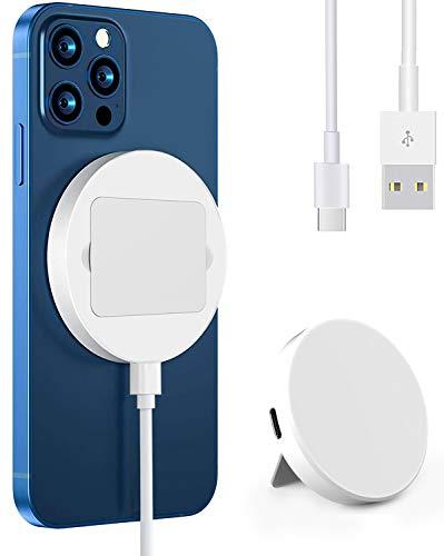 Hoidokly Chargeur Induction Compatible avec Mag-Safe Adsorbable à Aimant 15W Support de Chargeur sans Fil Magnétique Aligne Automatiquement la Charge Rapide pour iPhone 12/12 Pro/12 Pro Max - Bianc