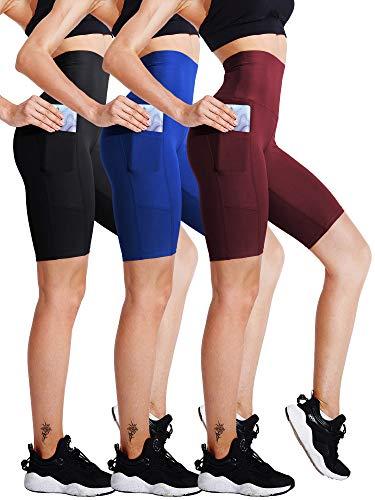 Cadmus Womens Biker Shorts for Workout w Pocket3044Pack of 3BlackBlueRedXXX Large