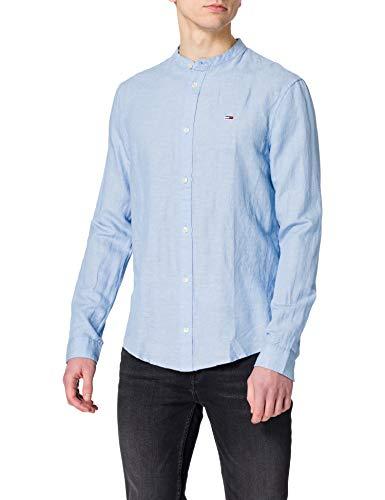 Tommy Jeans TJM Mao Linen Blend Shirt Camiseta, azul claro, S para Hombre