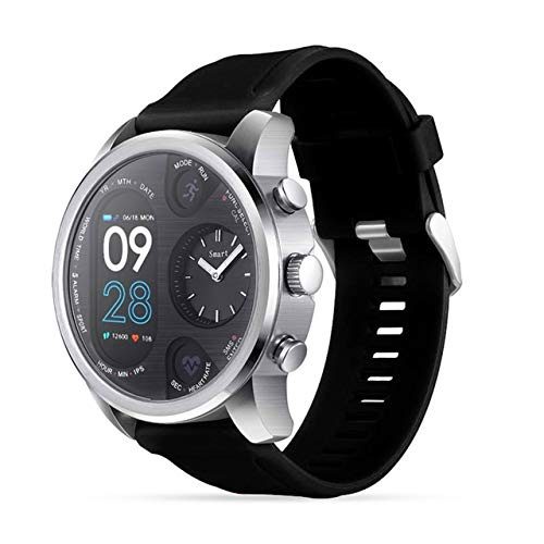 Luoshan T3 Reloj Inteligente de Doble Pantalla for Hombres IP68 Pulsera Impermeable de Fitness 15 días Standby Business Smartwatch Activity Tracker (Negro) (Color : Black)