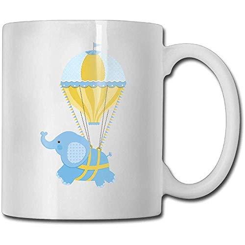 Blaue Heißluft-Ballon-Elefant-Kaffeetasse 11 Unze-männliches Neuheits-Geschenk-Tee-Schalen-Geschenk für Familie und Freunde, Spaß-weiße Kaffeetasse