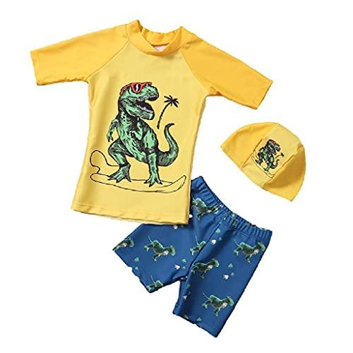 NIDONE Muchachos Traje de baño para niños con Pantalones del Traje de baño de Split Manga Larga Traje de baño Traje de 2 Piezas de Lentes Dinosaurio M