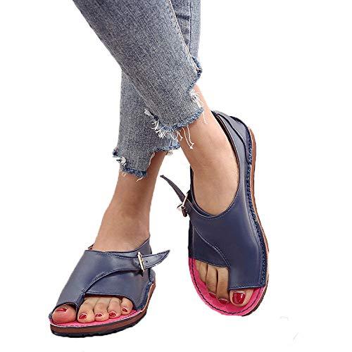 Sandalias De Mujer De Color Azul Marino Casual Con Clip De Verano Sandalias De Mujer Zapatos De Playa Con Clip De Color Sólido Zapatos De Mujer Con Hebilla Sandalias Planas Zapatos De Talla Grande