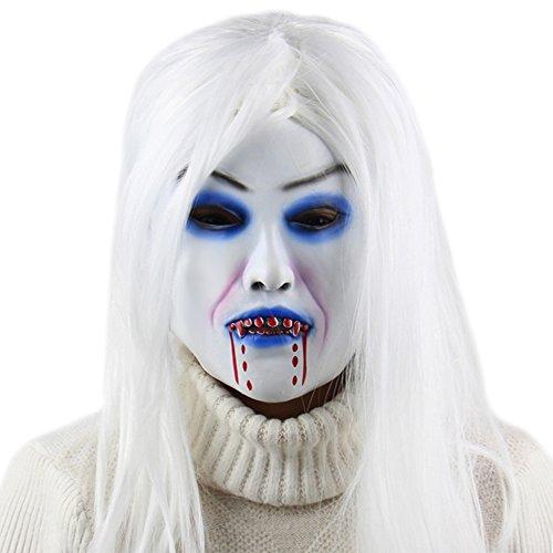 Horror Wit Haar Heks Masker, Latex griezelige Party Props, Realistisch, Lichtgewicht, Ademend, Is ontworpen voor Masquerade, Feest, Bar, Halloween