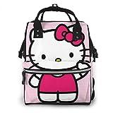 Bolsa para pañales de Hello Kitty, color rosa, multifunción, gran capacidad, mochila de viaje