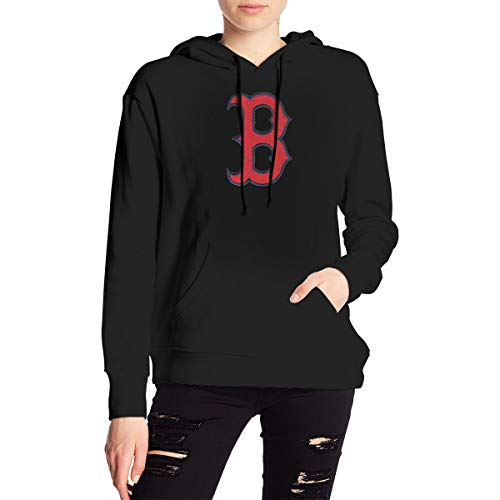 Boston Red-Sox Women's Sweater Casual Classic Cotton Shirt with Round Collar Black M