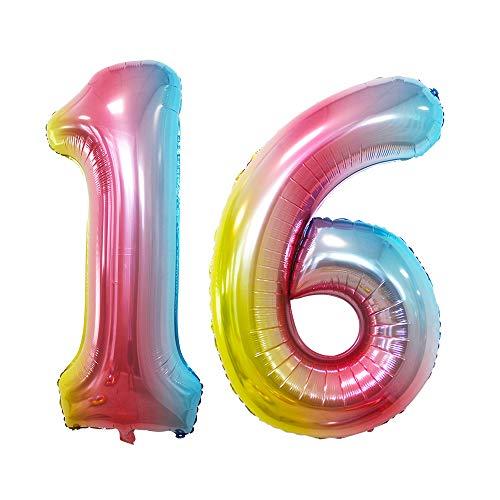 Gore Luftballons mit 16 Zahlen, für 16. Geburtstag, Party-Dekoration, süßes 16 Partyzubehör mehrfarbig