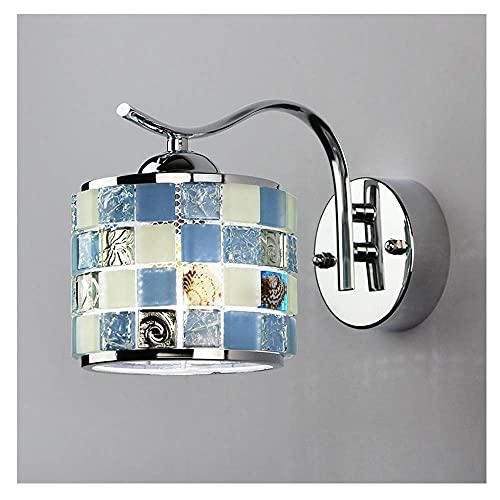 GIOAMH Lámpara de pared E27 Lámpara de pared de cristal de metal de vidrio interior, aplique de lámpara Iluminación creativa en forma de sala de estar Dormitorio Pasillo Oficina Habitación Sea Shell