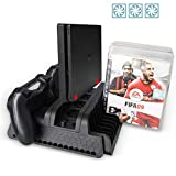 YYKJ Vertical Bracket for Playstation PS4/PS4 Slim/PS4 Pro, with 2 Controller Charging Ports, 12 CD Storage Game Towers, 3 Fan Cooler Cooling Brackets and USB Expansion hub