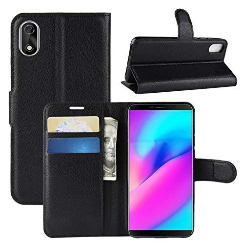 """HualuBro CUBOT J3 Hülle, Premium PU Leder Leather Wallet HandyHülle Tasche Schutzhülle Flip Case Cover mit Karten Slot für CUBOT J3 2018 5.0"""" Smartphone (Schwarz)"""