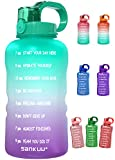 SANKUU Large 1 Gallon/128oz (When Full) Gallon Water Bottle Motivational with Time Marker & Straw, Leakproof Water Jug Ensure You Drink Daily Water Throughout The Fitness Day (Purple/Blue Gradient)