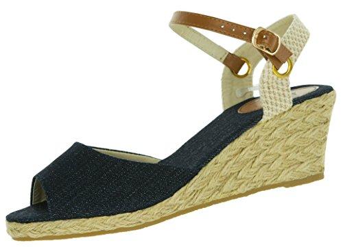 Beppi Hohe Sandaletten für Damen | mit Leder-Riemchen | Bast-Schuhe Stylisch Modisch | Sommerschuhe mit Keilabsatz für Frauen | Sandalen | Dunkelblau | Größe 36