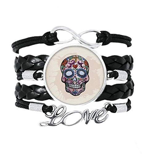 DIYthinker Armband mit lila Totenkopf, Mexiko, nationale Kultur, Illustration, Liebes-Accessoire, gedrehtes Leder, Strickseil, Geschenk