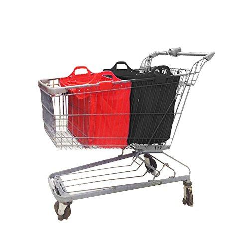 VAIIGO Wiederverwendbare Einkaufswagentasche, Faltbare Einkaufstaschen, Einkaufstasche passend für Alle gängigen Einkaufswagen Falt Tasche (Schwarz/Rot)