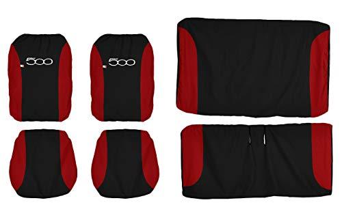 Lupex Shop FIAT 500 zweifarbige sitzbezüge, Schwarz/Rot