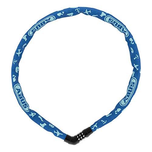 ABUS Kettenschloss Steel-O-Chain 4804C/75 SYMBOLS – Zahlenschloss für Kinderfahrräder – ABUS-Sicherheitslevel 3 – 75 cm – Blau