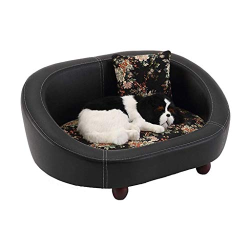 CYGJLYZ Soft and comfortable Leather pet sand black Pet bed cat dog sofa Dog house comfort bite waterproof pet bed mattress four seasons universal Pet cat dog cave (Color : Black, Size : M)