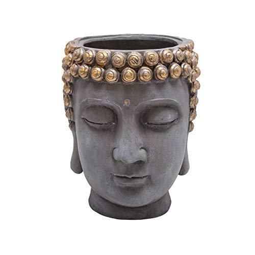 Sagebrook Home 13029-08 Resin Buddha Head Flower Pot,Grey & Gold, 14.25 x 14 x 16.75 inches, Gold