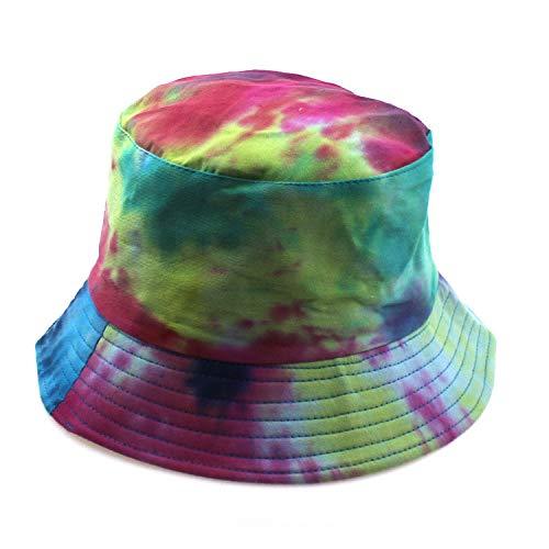 Primavera y Verano Moda Coreana Tie-Dye Sombrero de Pescador de Doble Cara para Mujer Degradado Salvaje Colorido Sombrero para el Sol Hombres Sombrero de Lavabo transfronterizo