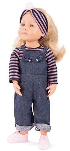 Götz 2011019 Little Kidz Lotta Puppe - 36 cm große Multigelenk-Stehpuppe mit blonden Haaren und blauen Augen - 6-teiliges Set