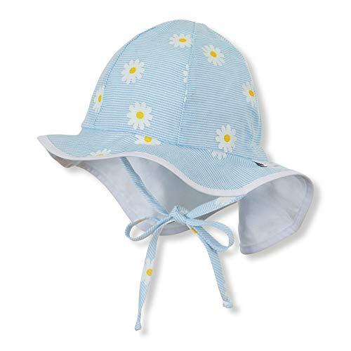 Sterntaler Flapper für Mädchen mit Bindebändern, Nackenschutz und Blumen-Motiv, Alter: 6-9 Monate, Größe: 45, Blau (Himmel)