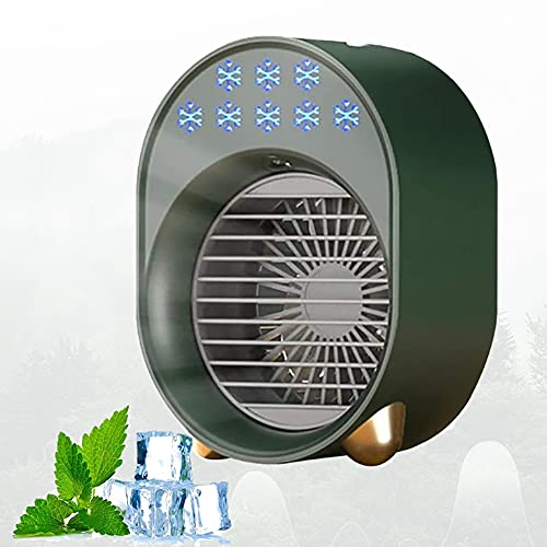 Portable air conditioner,mini evaporative air cooler with 3 Speeds 7 Colors,USB Rechargeable Multifunctional Desk Fan Purifier Humidifier For Office Personal Air Cooler,Desk Type Air Cooler (green)