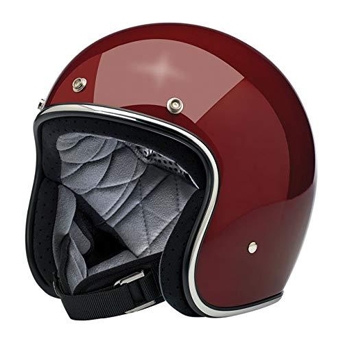 Casco Jet Aperto Bonanza Biltwell Gloss Garnet Approvato DOT Helmet Biker Look Stile Universale x Genere Custom Vintage Retrò Anni 70 Off-Road Street Taglia XL