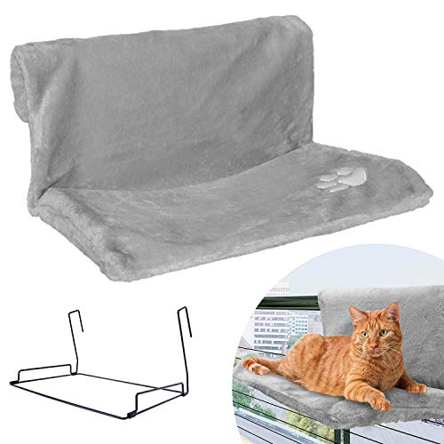 Strong Hanging Cat Hammock - Plush Pet Shelf - Folds Easily for Travel - Hang Anywhere (Grey)