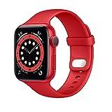 Lobnhot Compatibile per Apple Watch Cinturino 41mm 38mm 40mm,Cinturino di Ricambio in Silicone Morbido Sportivo Compatibile con iWatch Series SE 6 5 4 3 2 1 per Donna Uomo (38/40/41MM-Rosso)