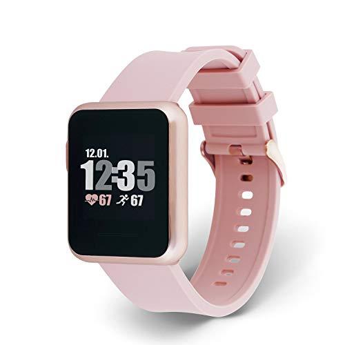 X-WATCH 54045 KETO SUN REFLECT Smart Watch, Fitness Tracker, Pulsmesser, IP68 wasserdicht, Akku bis 20 Tage, Android & iOS - SAHARA SUN