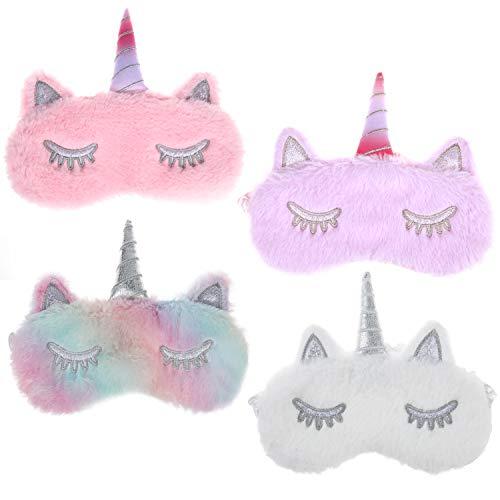 MWOOT 4 Piezas Unicornio Máscara para Dormir, Antifaz suave y ligera para dormir para niñas, adolescentes, mujeres, cubierta para los ojos, fiesta de unicornio