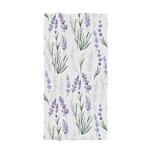 Naanle Stylish Luxuriant Beautiful Lavender Flowers Pattern Soft Absorbent Large Hand Towels Multipurpose for Bathroom, Hotel, Gym and Spa (16' x 30',Floral)