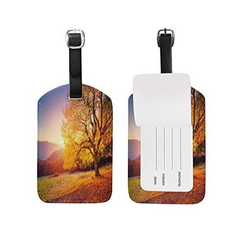 Autumn Mountain Valley Majestic Tree Sunny Beams Luggage Tag for Baggage Suitcase Bag Travel Label Leather 1 Piece