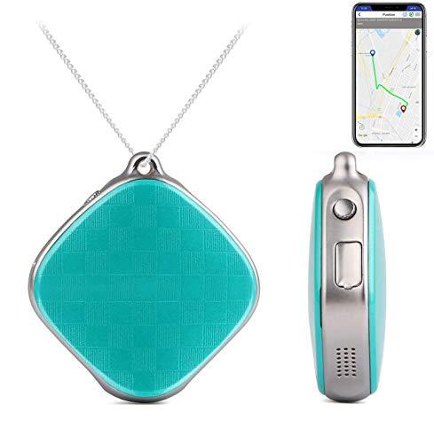 AYBB Smart Positioning Anhänger Halskette, GPS-Tracker SOS-Taste Notruf Sprachüberwachung, Anti-Lost-Tracker für Kinder Eltern Haustiere,Blue