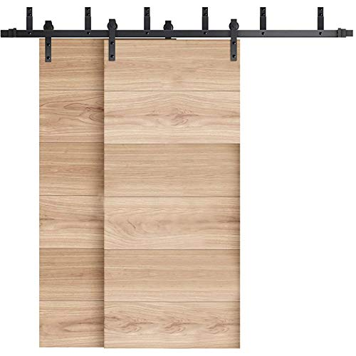 INDUSTRIAL BY DESIGN – 8ft Double Bypass Sliding Barn Door Hardware Kit – Ultra Quiet, Designers Choice, All Parts Included, Easy Installation with DIY Video Instructions