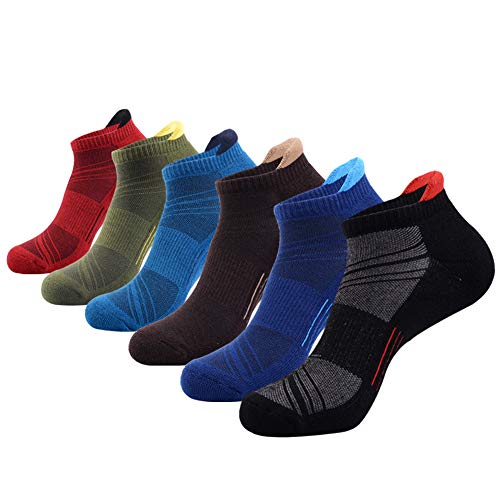 Mens Ankle Low Cut Athletic Tab Socks for Men Sports Comfort Cushion Sock 6 Pack,Multicoloured,Sock Size 10-13