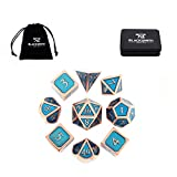HEIMDALLR Metal DND Dice Set 9 PCS (2 Extra D6s) - Dungeons and Dragons Polyhedral Dice Set with D&D Dice Box & Bag for RPG Gaming - Includes D20 - Blacksmith Craft Dice (Seafarer)