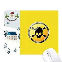 ロゴ黄色の背景致死物質 サンタクロース家屋ゴムのマウスパッド