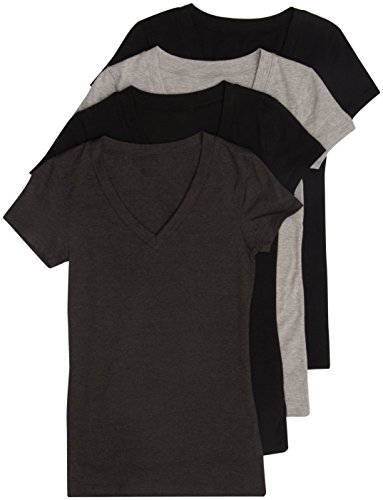 4 Pack Zenana Womens Basic V-Neck T-Shirts (X-Large)