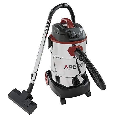 Arebos - Aspiradora industrial | 1600 W | aspiradora en seco y húmedo | con y sin bolsa | depósito de 30 L | color rojo