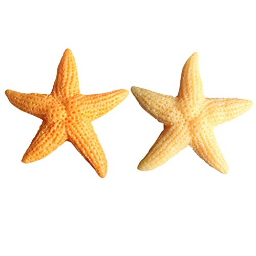 TOYANDONA 10pcs Resin Starfish Refrigerator Magnets Decorative Sea Stars DIY Craft Beach Wedding Decorations Christmas Ornaments(Orange and Yellow)