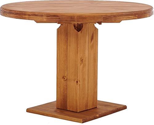 B.R.A.S.I.L.-Möbel Brasilmöbel Säulentisch Rio UNO Rund 120 cm Honig Tisch Esstisch Pinie Massivholz Esszimmertisch Holz Küchentisch Echtholz Größe und Farbe wählbar