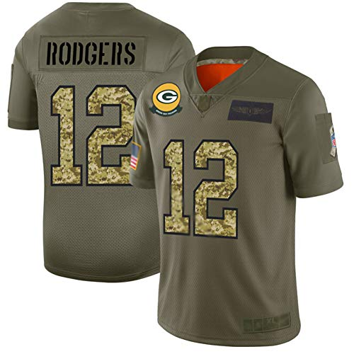 Aaron Rodgers # 12 Camiseta de fútbol Americano Jersey-Green Bay Packers Jersey de Rugby Bordado Camiseta de Manga Corta Top Deportivo Ropa Deportiva para Hombres-Armygreen-XL(185~190cm)