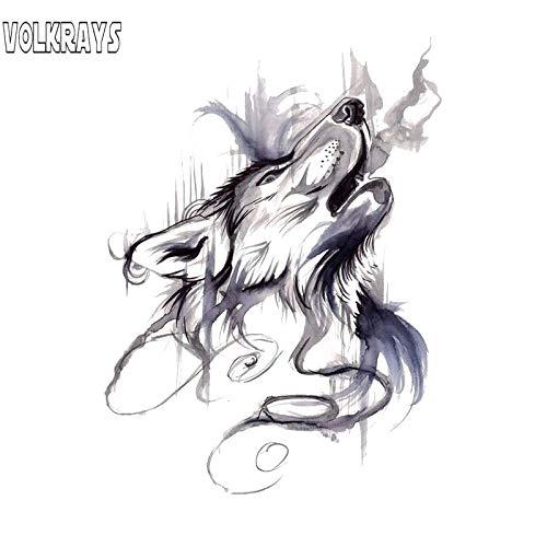 BLOUR Volkrays Persönlichkeit Autoaufkleber Tuschemalerei Heulender Wolfskopf Zubehör Reflektierender PVC-Aufkleber für Pajero Vw Passat, 13 cm * 10 cm