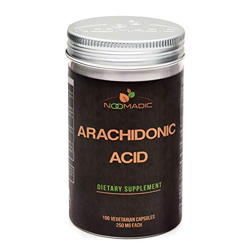 Noomadic Arachidonic Acid (AA or ARA), 100 Capsules   250mg Each, May Improve Lean Muscle Mass, Power Output and Strength.
